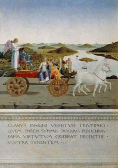 Piero della Francesca - Von zwei Schimmeln gezog. Triumphwagen. Rückseite des Portr. Der Battista Sforza