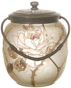 Mt Washington Royal Flemish Cookie Jar with Pink Rose Decoration - 7 inch HOA