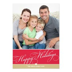 PERSONALIZED PHOTO FAMILY HOLIDAY FLAT CARD lovely script type in red and gold... Have yourself a trendy little christmas this year with these DIY templates available for purchase