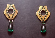 Golden Earrings with Green Stones and Drop