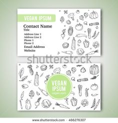 Business cards template with hand drawn doodle vegetables icons for vegan shop or restaurant. Vector illustration. Cartoon various types of seasonal veggie symbols on white background. Sketchy style.