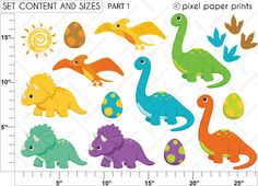 Dinosaurs Clipart and Digital Paper Set par pixelpaperprints