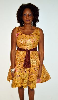 Brown And Gold African Ankara Print Short Dress, Handmade Short Dress, African Print Short Dress