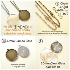 Kit set of Handmade Photo Cabochon Necklace by yooounique Handmade Necklaces, Handmade Gifts, Cameo Pendant, Antique Silver, Tray, Pearl Earrings, Bronze, Base, Kit