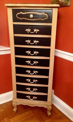 Vintage French Provincial Lingerie Chest Hand Painted Linen and Black