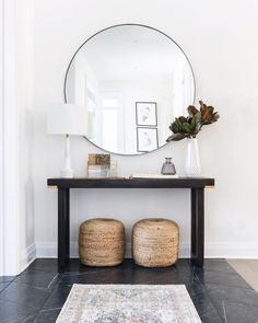 entryway design by Ottawa Interior Design Firm Leclair Decor. Entryway Console from Ottawa furniture store LD Shoppe.Welcoming entryway design by Ottawa Interior Design Firm Leclair Decor. Entryway Console from Ottawa furniture store LD Shoppe. Entryway Console, Entryway Decor, Entryway Tables, Entryway Ideas, Console Table, Modern Entryway, Entrance Ideas, Modern Staircase, Entry Foyer
