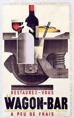 Vintage Wine Wagon-Bar Poster Cassandre pseudonym of Adolphe Jean-Marie Mouron – was a Ukrainian-French painter, commercial poster artist, Vintage Advertising Posters, Retro Poster, Art Deco Posters, Poster Ads, Vintage Travel Posters, Vintage Advertisements, Wine Poster, Print Advertising, Maurice Utrillo