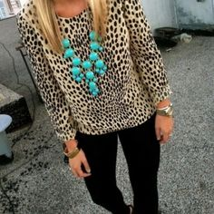 Leopard and turquoise bubble necklace