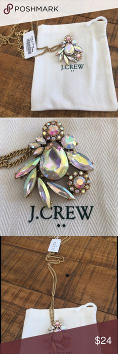 """NWT J. Crew Winding Crystals Long Necklace Beautiful gold hardware, within a chain of approximately 30"""". The Stones are referred to as Buff but appear iridescent in color. Gorgeous for everyday or a night on He town! The Stones pick up so many different colors that this piece will match nearly any outfit. From J. Crew Factory. And comes with protective jewelry pouch. J. Crew Jewelry Necklaces"""