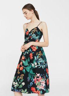 Bow floral dress - Women | MANGO USA
