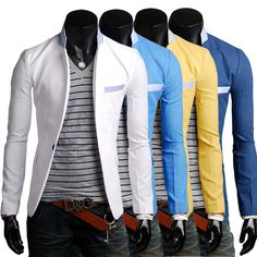 fashion new Men's Casual Slim Stylish fit One Button Suit Blazer Coat Jackets FREE SHIPPING