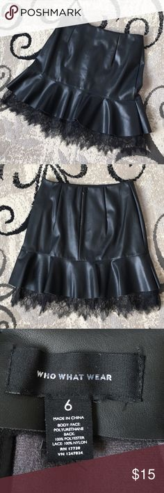 NWOT Who What Wear Faux Leather Skirt Faux leather flare skirt with lace underlay detail. Back hidden zipper. Length is approximately 17 inches. NWOT Who What Wear Skirts