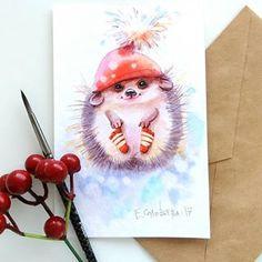 Beautiful and cute works by Shared by Veri Apriyatno Artist . Bird Drawings, Cute Drawings, Animal Drawings, Christmas Drawing, Christmas Art, Watercolor Paintings, Painting Prints, Art Prints, Christmas Illustration