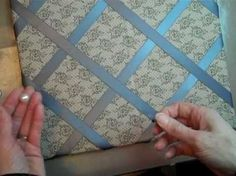 I am actually pinning this video because it teaches how to do corners nicely when you are wrapping a board, which will be handy to make my corners for my custom made scrapbooking album cover. Ribbon Bulletin Boards, Ribbon Boards, Cute Crafts, Diy Crafts, Diy Memo Board, Craft Projects, Sewing Projects, Craft Ideas, Fabric Board