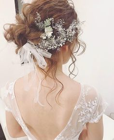 Bridal Hairdo, Bridal Hair And Makeup, Hair Makeup, Wedding Hair Flowers, Flowers In Hair, Wedding Dresses, Bride Hairstyles, Cool Hairstyles, Asian Flowers