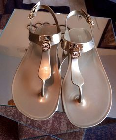 ce2a5b1d787f Michael Kors Plate Jelly Logo Thong Gold Metallic Slingback Sandals Size 8  for sale online