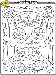 Here are the Amazing Dia De Los Muertos Coloring Pages. This post about Amazing Dia De Los Muertos Coloring Pages was posted . Adult Coloring Pages, Crayola Coloring Pages, Colouring Pages, Coloring Pages For Kids, Coloring Sheets, Coloring Books, Day Of The Dead Party, Day Of The Dead Skull, Sugar Skull Art