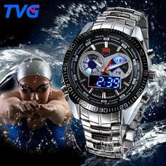 #savemajor #BlackFriday #CyberMonday Deals at SaveMajor.com TVG Stainless Ste... Save Major http://savemajor.com/products/tvg-stainless-steel-luxury-band-fashion-black-digital-watch-sport-mens-analog-led-dual-time-zone-3atm-waterproof-relojes-hombre?utm_campaign=social_autopilot&utm_source=pin&utm_medium=pin