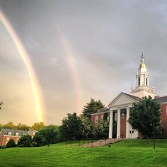 Beautiful Instagram Photo by tylerpmurphy of a double rainbow on campus!