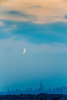 Moon over manhattan, NYC, by Braulio Cosme