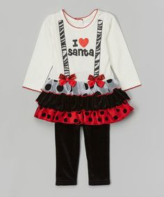 Loving this White 'I Love Santa' Tutu Tee & Black Leggings - Infant on #zulily! #zulilyfinds