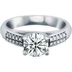 3/4 ct. Round Double Beaded Engagement Ring (F Color, VVS Clarity) in 14k White Gold