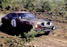Shekhar Mehta and Lofty Drews in a Datsun 240Z during the East African Safari Rally in 1973.