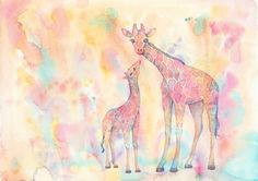 """family of giraffes"" animal series. watercolor art warks,yasuyuki sakuma. 「麒麟」水彩"