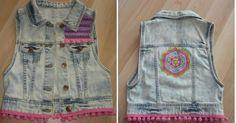 Un chaleco boho con muy poco Moda Boho, Boho Diy, Boho Style, Boho Fashion, Vest, Denim, Jackets, Bohemian Style, Sweater Vests