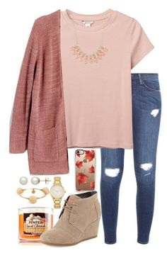 """yay for sweater weather"" by valerienwashington on Polyvore featuring Frame Denim, Casetify, Monki, Madewell, Charlotte Russe, TOMS, Kate Spade, Honora and Bourbon and Boweties"