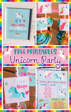 Free Unicorn Party printables- Confetti Crate Contains: Unicorn cupcake toppers, What's your Unicorn Name, Be a Unicorn in a field of horses print