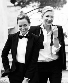 Emily Blunt & Cate Blanchett by Peter Lindbergh Emily Blunt, Cate Blanchett, Estilo Tomboy, Classic Suit, Peter Lindbergh, Marlene Dietrich, Suit And Tie, Girls In Love, Wedding Suits