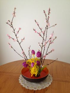 Peaches and mimosa for Japanese Girls' Festival. Welcoming spring!