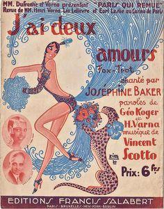 """""""J'ai deux amours"""" Joséphine Baker  Mme Dufrenne & Varna présente: """"Paris qui remue"""" Ed: Francis Salabert. Illustration par Zig."""