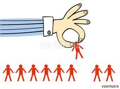 Vector: Giant hand in a business shirt picking up one person from a row of identical people drawn as stick men