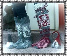 Mökkisukat ja säärystimet appivanhemmille :) | Kodin Kuvalehti Wool Socks, Knitting Socks, Knit Or Crochet, Womens Slippers, Sweater Weather, Leg Warmers, African Fashion, Mittens, Sheep