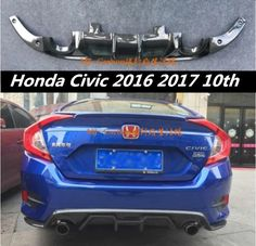 Carbon fiber Rear Bumper Lip Spoiler Diffuser Cover For Honda Civic 2016 2017 10th Fast by EMS (4STYLE) #Affiliate