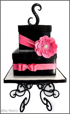 Bling Gift Box Birthday Cake - A blinged out gift box birthday cake in black and hot pink