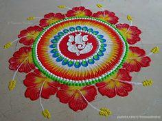 Ganesha Chaturthi special Ganesha and hibiscus flowers rangoli Rangoli Designs Simple Diwali, Rangoli Designs Latest, Rangoli Designs Flower, Free Hand Rangoli Design, Rangoli Patterns, Small Rangoli Design, Rangoli Ideas, Colorful Rangoli Designs, Flower Rangoli