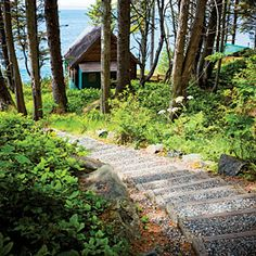 Coastal getaways: Vancouver Island, B.C. Cabins on the cliff: Victoria may be only an hour away, but the 25 cabins at Point-No-Point Resort might as well be at the end of the Earth—a rugged, woodsy, ocean cliff stretch of it at that. Cedar-cute & woodstove-cozy, many of the 1- & 2-room cabins were built in the '50s but ace the test of time.
