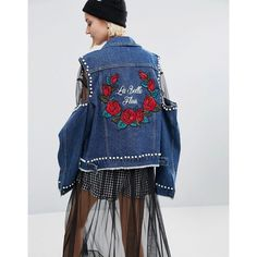 STYLENANDA Cold Shoulder Denim Jacket With Patches ($170) ❤ liked on Polyvore featuring outerwear, jackets, blue, patched denim jacket, blue jackets, patch pocket jacket, patch jacket and embroidered jacket