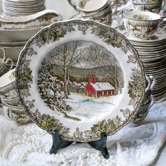 Friendly Village Dinner Plate Johnson Bros, Vintage Transferware Plate, English Plate, The School Ho Johnson Bros, Johnson Brothers, Vintage Plates, Vintage Dishes, Friendly Village Dishes, Christmas Dinnerware, Christmas Entertaining, China Patterns, Etsy Vintage