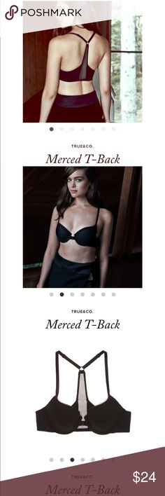 True & Co Merced Black Racerback Bra Beautiful high quality bra.  Selling bc a little snug on me.  Like new condition.  Make an offer or bundle to save! True & Co Intimates & Sleepwear Bras