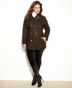 MICHAEL Michael Kors Plus Size Coat, Double-Breasted Wool-Blend Pea Coat
