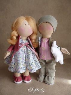 Авторская кукла Розово-серая пара (Текстильные)
