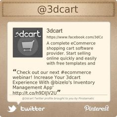 @3dcart's Twitter profile courtesy of @Pinstamatic (http://pinstamatic.com) #ecommerce #shoppingcartsoftware