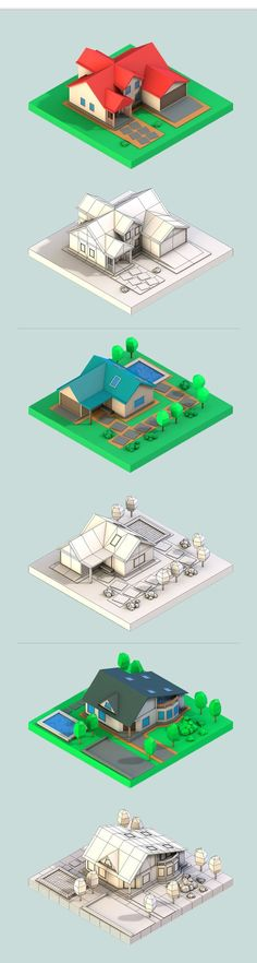 Low Poly Houses Download 3D Models. Formats: max, maya, c4d, blend, fbx, obj