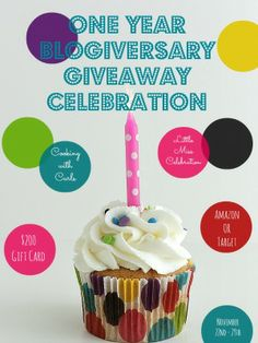 Double One Year Blogiversary Giveaway Celebration! - Little Miss Celebration & Cooking With Curls! Win a $200 Amazon or Target gift card! :)