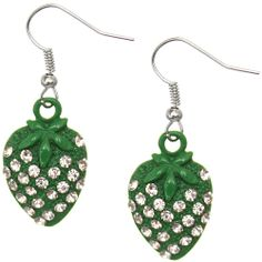Candy Luxx - Green Rhinestone Mini Strawberry Dangle Earrings, $5.99 (http://www.candyluxx.com/products/green-rhinestone-mini-strawberry-dangle-earrings.html)