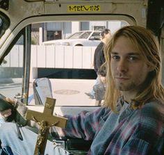 Kurt Cobain... Ooh he's got a Melvins sticker in his car haha